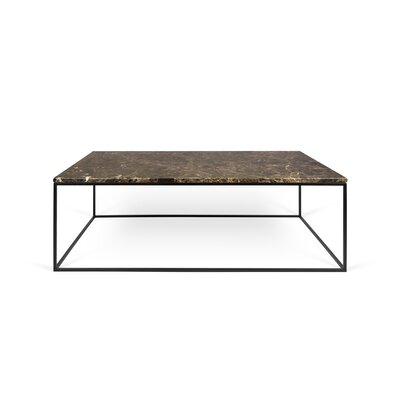 Soltane Coffee Table Base Color: Black Lacquered Steel, Top Color: Brown Marble