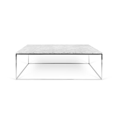 Soltane Coffee Table Base Color: Chrome, Top Color: White Marble
