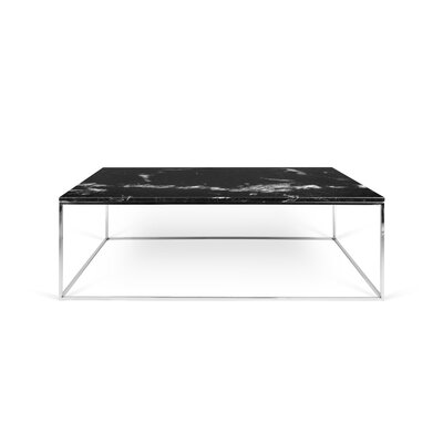 Soltane Coffee Table Base Color: Chrome, Top Color: Black Marble