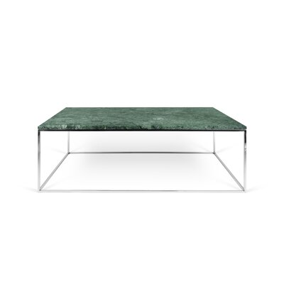 Soltane Coffee Table Base Color: Chrome, Top Color: Green Marble