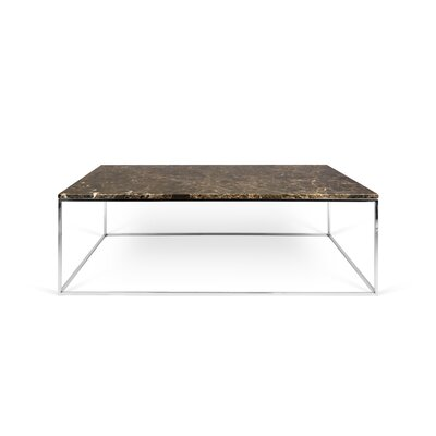 Gleam Coffee Table Top Finish: Brown Marble, Base Finish: Chrome