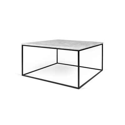 Soltane Coffee Table Base Color: Black Lacquered Steel, Top Color: White Marble