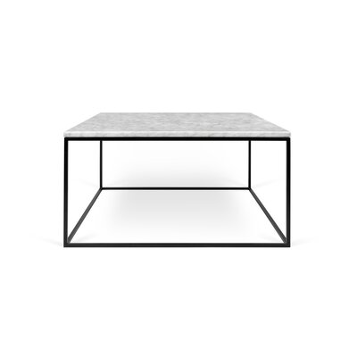 Gleam Coffee Table Base Color: Black Lacquered Steel, Top Color: White Marble