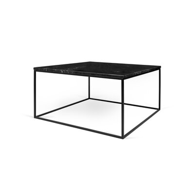 Soltane Coffee Table Base Color: Black Lacquered Steel, Top Color: Black Marble