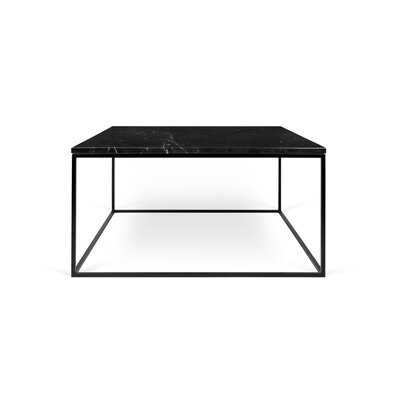 Gleam Coffee Table Base Color: Black Lacquered Steel, Top Color: Black Marble