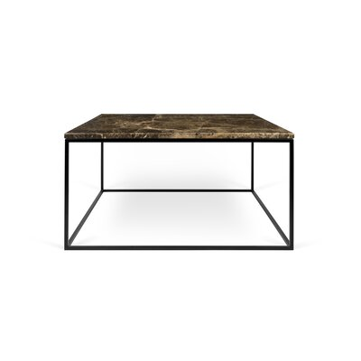 Gleam Coffee Table Base Finish: Black Lacquered Steel, Top Finish: Brown Marble