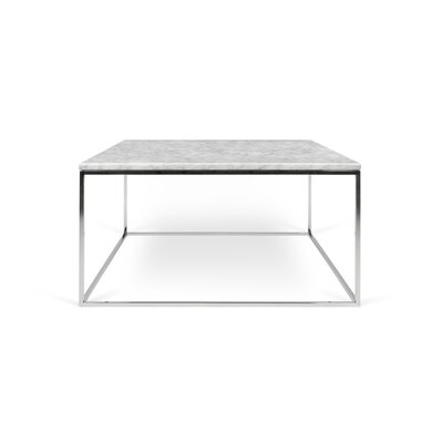 Gleam Coffee Table Top Finish: White Marble, Base Finish: Chrome
