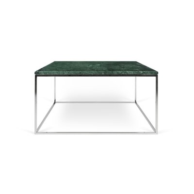 Gleam Coffee Table Base Color: Chrome, Top Color: Green Marble