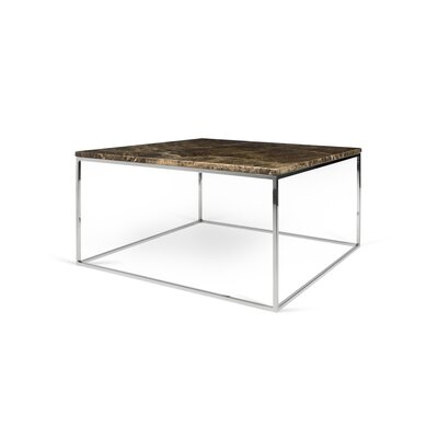 Soltane Coffee Table Base Color: Chrome, Top Color: Brown Marble