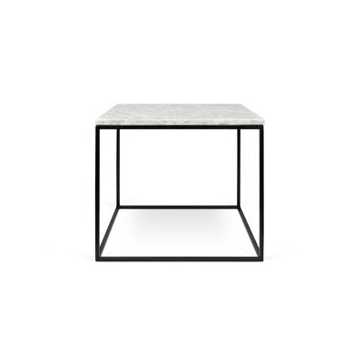 Gleam End Table Base Finish: Black Lacquered Steel, Top Finish: White Marble