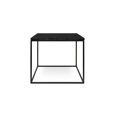 Gleam End Table Base Color: Black Lacquered Steel, Top Color: Black Marble