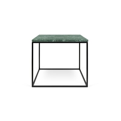 Gleam End Table Base Finish: Black Lacquered Steel, Top Finish: Green Marble