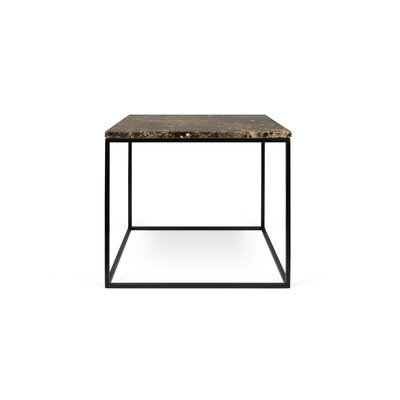 Gleam End Table Base Color: Black Lacquered Steel, Top Color: Brown Marble