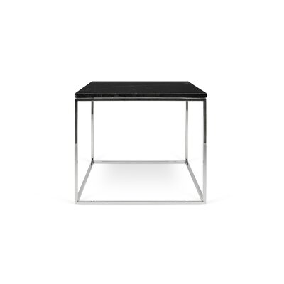 Gleam End Table Base Color: Chrome, Top Color: Black Marble