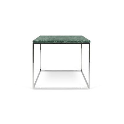 Gleam End Table Base Finish: Chrome, Top Finish: Green Marble