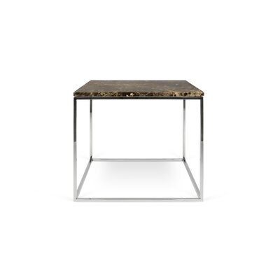 Gleam End Table Base Finish: Chrome, Top Finish: Brown Marble