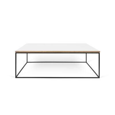 Soltane Coffee Table Base Color: Black Lacquered Steel, Top Color: Pure White
