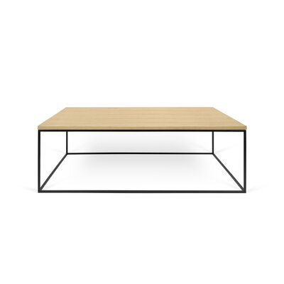 Gleam Coffee Table Top Finish: Wild Oak, Base Finish: Black Lacquered Steel
