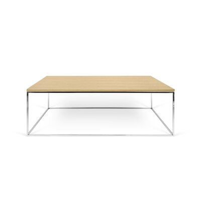 Gleam Coffee Table Top Finish: Wild Oak, Base Finish: Chrome