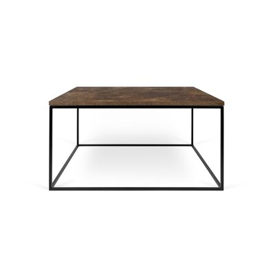 Gleam Coffee Table Base Finish: Black Lacquered Steel, Top Finish: Wild Oak