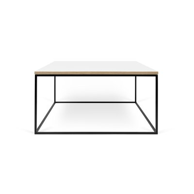 Gleam Coffee Table Top Finish: Pure White, Base Finish: Black Lacquered Steel