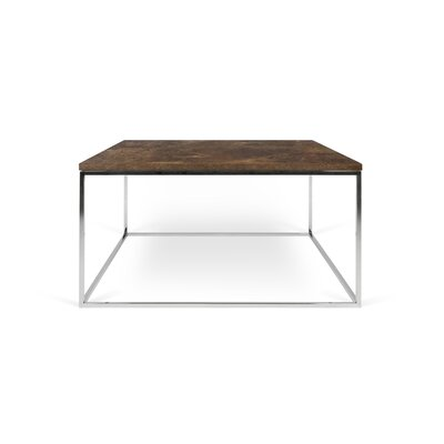 Gleam Coffee Table Top Finish: Rusty Look, Base Finish: Chrome