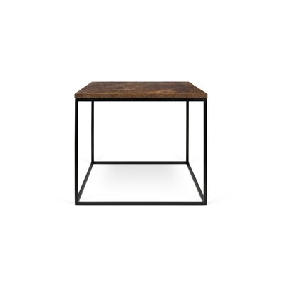 Gleam End Table Top Finish: Rusty Look, Base Finish: Black Lacquered Steel