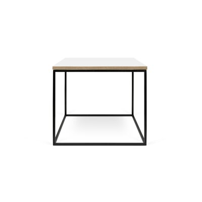 Gleam End Table Top Finish: Pure White, Base Finish: Black Lacquered Steel