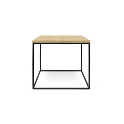 Gleam End Table Base Color: Black Lacquered Steel, Top Color: Wild Oak