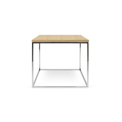 Gleam End Table Base Color: Chrome, Top Color: Wild Oak