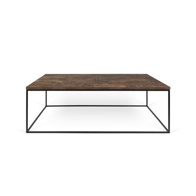Gleam Coffee Table Top Finish: Rusty Look, Base Finish: Black Lacquered Steel