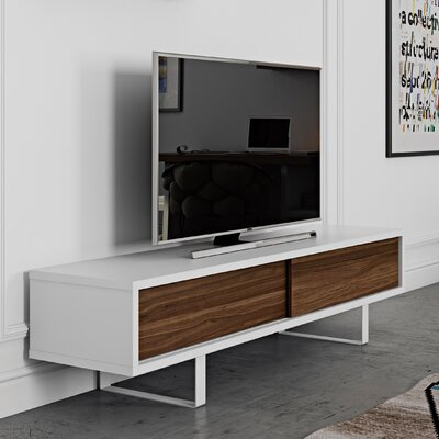 Slide 78 TV Stand Color: Matte White / Walnut / White