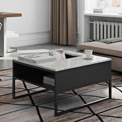 Sigma Coffee Table Top Finish: White Marble / Black