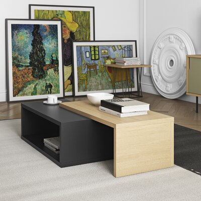 Jazz Coffee Table Top Color: Pure Black / Oak
