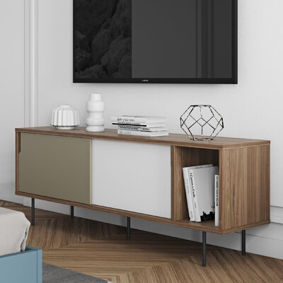 Garry 65 TV Stand Color: Walnut Frame/ Pure White/Matte Grey Doors