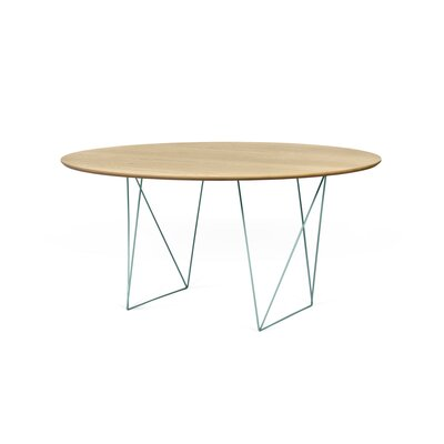 Loganne Circular 29H x 59W x 59L Conference Table Finish: Oak/Sea Green Steel