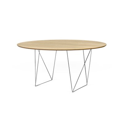 Loganne Circular 29H x 59W x 59L Conference Table Finish: Oak/Chrome