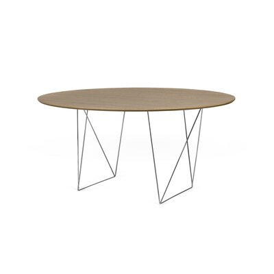 Loganne 4.9 Circular Conference Table Finish: Walnut/Chrome
