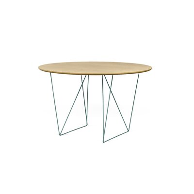 Loganne Circular 29H x 47W x 47L Conference Table Finish: Oak/Sea Green Steel