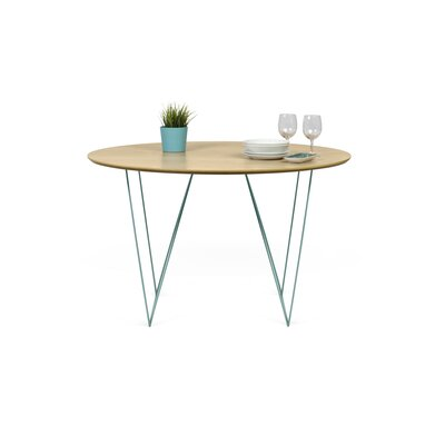 Loganne 3.9 Circular Conference Table Finish: Oak/Sea Green Steel
