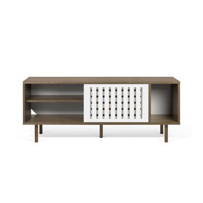 Garry Stripes Wood Sideboard Color (Base/Top): Brown/Black
