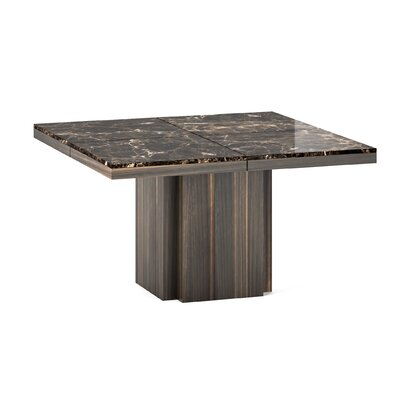 Wendell Marble Dining Table Finish: Brown Marble/Smoked Eucalyptus