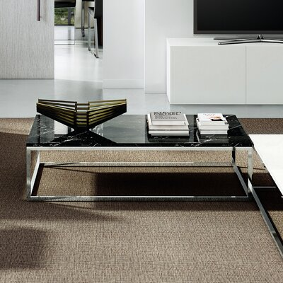 Prairie Marble Coffee Table Base Color: Chrome, Top Color: Black Marquina