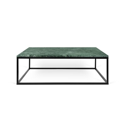 Prairie Marble Coffee Table Base Color: Black Steel, Top Color: Guatemala Green