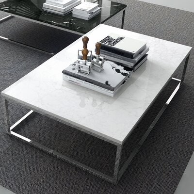 Prairie Marble Coffee Table Base Color: Black Steel, Top Color: White Carrara
