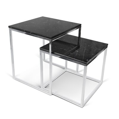 Prairie 2 Piece Nesting Tables Color: Black / Chrome