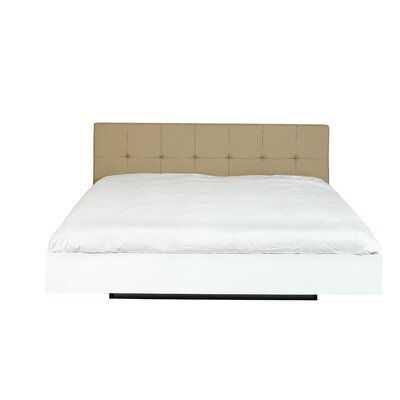 Float Platform Bed Finish: Beige Leather / High Gloss White, Size: King