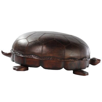 Turtle Leather Ottoman Size: Large, Upholstery: Brompton Chocolate
