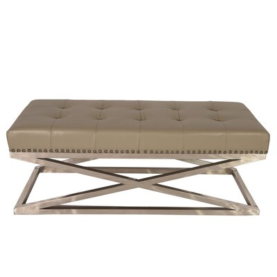 Peyton Coffee Table Base Color: Stainless Steel, Top Color: Adobe