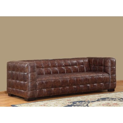Nautical Leather Chesterfield Sofa Upholstery: Cocoa Brompton